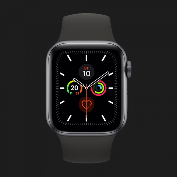 Apple Watch Series 5 44mm Space Gray Aluminium Case with Black Sport Band (MWVF2)