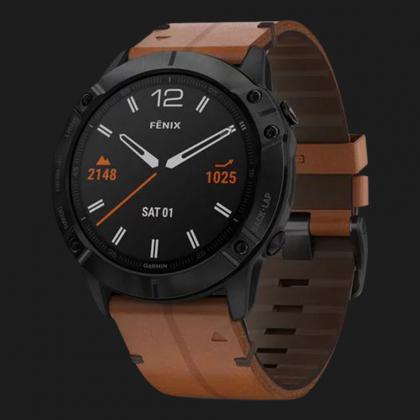 Garmin Fenix 6X Black DLC with Chestnut Leather Band (010-02157-14)