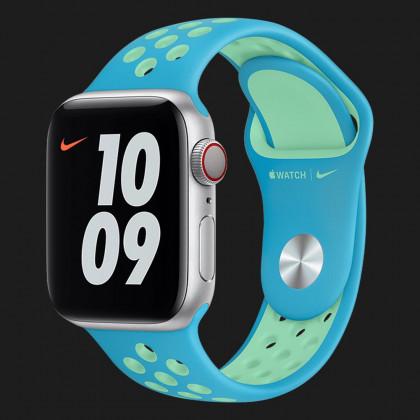 Оригінальний ремінець для Apple Watch 38/40 mm Nike Sport Band (Chlorine Blue / Green Glow) (MJ6H3)